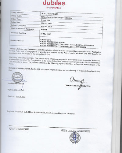 Group life insurance certificate