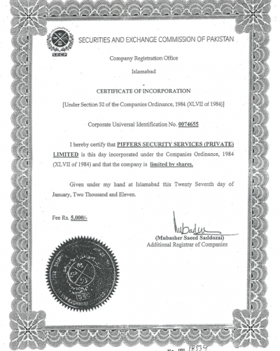SECP INCORPORATION CERTIFICATE